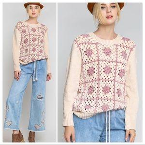 POL Crochet Granny Squares Chenille Sweater